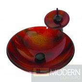 Red with Burnt Yellow and Brown Painted Vessel
