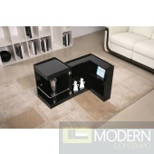 Modern End Table/Mini Bar P205B in Black Gloss