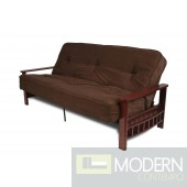 "Full Size 8"" Pocket Coil Futon Mattress - Brown Microfiber Cover"