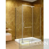 "48"" x 35"" Shower Enclosure with Acrylic Shower Base in Chrome Finish, 8mm Glass - Left Hand Drain"