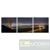Modrest Golden Gate Bridge 3-Panel Photo on Canvas