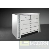 Modrest Glimmer - Transitonal Mirrored Dresser with Artificial Crystals