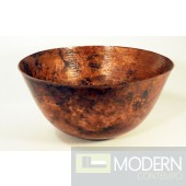Tall Round Copper Vessel Sink in Natural Finish