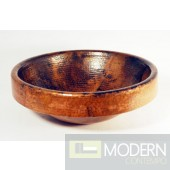 Round Surface Mount Copper Sink in Natural Finish