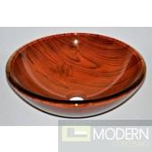 Wide Wood Grained Glass Vessel Sink