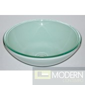 Round Vessel with White Frosted Bottom Sink