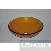 Burnt Yellow with Crackles Glass Vessel
