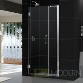 """Unidoor 42 to 43"""" Frameless Hinged Shower Door, Clear 3/8"""" Glass Door, Brushed Nickel Finish"""