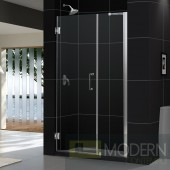 """Unidoor 41 to 42"""" Frameless Hinged Shower Door, Clear 3/8"""" Glass Door, Chrome Finish"""