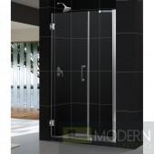 """Unidoor 52 to 53"""" Frameless Hinged Shower Door, Clear 3/8"""" Glass Door, Chrome Finish"""