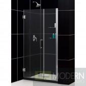 """Unidoor 44 to 45"""" Frameless Hinged Shower Door, Clear 3/8"""" Glass Door, Brushed Nickel Finish"""