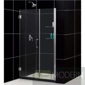"""Unidoor 48 to 49"""" Frameless Hinged Shower Door, Clear 3/8"""" Glass Door, Brushed Nickel Finish"""