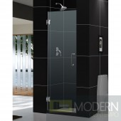 "Unidoor 23"" Frameless Hinged Shower Door, Clear 3/8"" Glass Door, Chrome Finish"