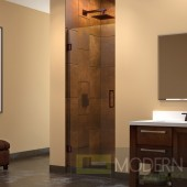 "Unidoor 24"" Frameless Hinged Shower Door, Clear 3/8"" Glass Door, Oil Rubbed Bronze Finish"