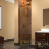 Unidoor 23 in. W x 72 in. H Hinged Shower Door, Half Frosted Glass Door, Chrome Finish Hardware