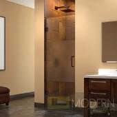Unidoor 23 in. W x 72 in. H Hinged Shower Door, Half Frosted Glass Door, Oil Rubbed Bronze Finish Hardware