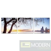Modrest Evening View 3-Panel Photo On Canvas