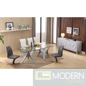Modrest Fountain Modern Glass Top w/ Grey Base Dining Table
