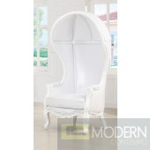 White/Vinyl ANTOINETTE Victorian Balloon Canopy Accent Arm Chair