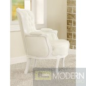 ATHENA White Button-Tufted Victorian French Style Accent Arm Chair