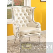 Silver/Beige PEGASUS Button-Tufted Victorian Accent Arm Chair