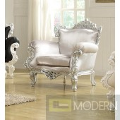 Silver/Silver ODESSA French Victorian Style Accent Arm Chair