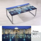 Modern Picture  Scenery Pattern Glass Top Metal Legs Coffee Table MCCT237- 7