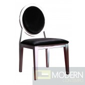 AA030 - Transitional Black Laquer Fabric Side Chair