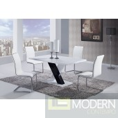 5 Pcs Modern Black and White Dining Room Table & Chairs Set GBD490DT