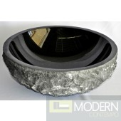 Black Granite Vessel with Natural Outside