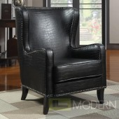 Celine Wing Accent Chair with Nailhead Trim - Black