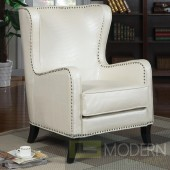 Celine Wing Accent Chair with Nailhead Trim - White