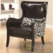 Celine Exposed Wood Zebra Print Accent Chair with Nailhead Trim