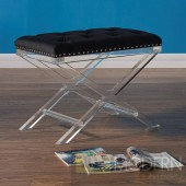 Crixus Modern and Contemporary Tufted Ottoman in Black Velvet with Acrylic Legs