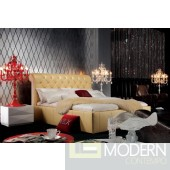A&X Modern Bed Cream Leather AW205-180