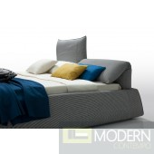Modern Grey Fabric Bed with Adjustable Headrests