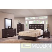 Modern Dark Walnut Leatherette Upholstered Bed Only MCGSB12358 Free Inside Delivery for DMV metro area.