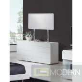 Modrest Bristol - Contemporary White Dresser and Mirror