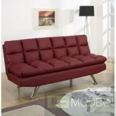 Modern Burgundy Faux Leather Adjustable Futon Sofa Free 24 to 72 hours inside delivery DC,MD,VA