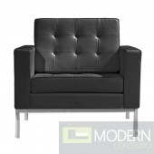 Button Arm Chair in Leather, Black