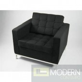 Button Arm Chair in Wool, Black
