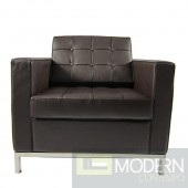 Button Arm Chair in Leather, Brown