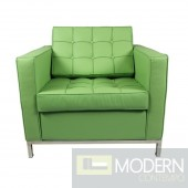 Button Arm Chair in Leather, Green