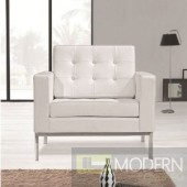 Button Arm Chair in Leather, White