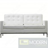 Button Loveseat in Leather, White