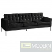 Button Sofa in Leather, Black