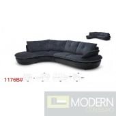 Divani Casa Lotus Modern Black Fabric and Leatherette Sectional Sofa