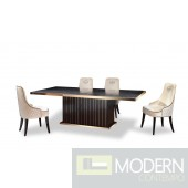 A&X Theodore Modern Black Crocodile & Rosegold Dining Table