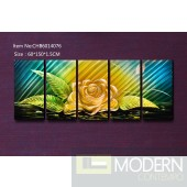 Modern Contemporary Yellow Flower Abstract Metal Wall Sculpture Art Work Painting Home Decor 5pc/Set