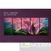 Modern Contemporary Abstract Pink Flower Metal Wall Sculpture Art Work Painting Home Decor 5pc/Set